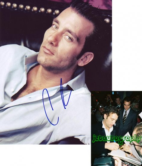 CLIVE OWEN SIGNED SEXY 8X10 PHOTO PIC PROOF SIGNING