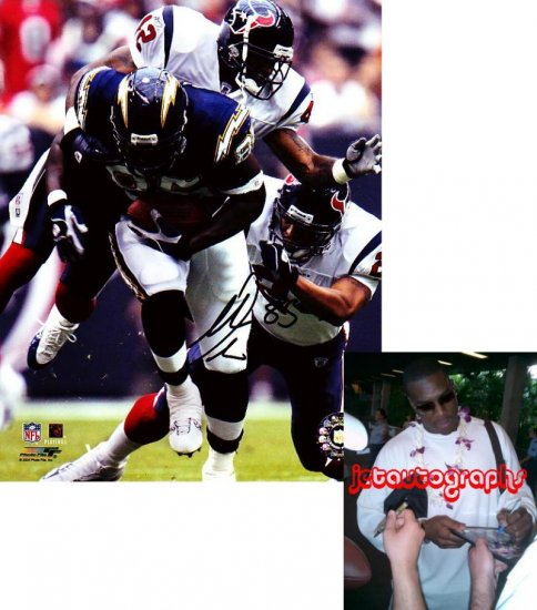 ANTONIO GATES SIGNED CHARGERS 8X10 PHOTO PIC PROOF SIGNING
