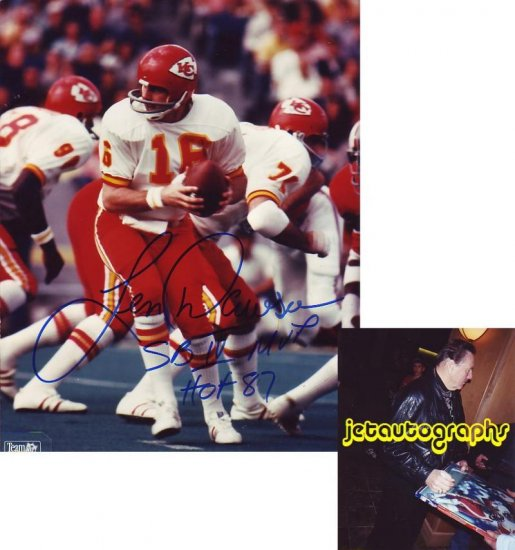 LEN DAWSON SIGNED CHIEFS 8X10 PHOTO PIC PROOF SIGNING