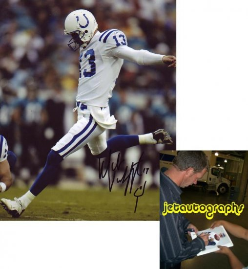 MIKE VANDERJAGT SIGNED COLTS 8X10 PHOTO PIC PROOF SIGNING