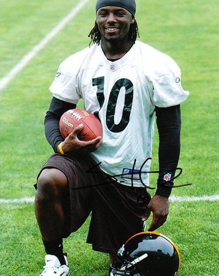 SANTONIO HOLMES SIGNED STEELERS 8X10 PHOTO PIC PROOF SIGNING