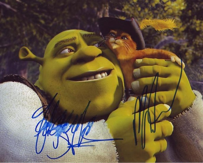 MIKE MYERS ANTONIO BANDERAS SIGNED SHREK 8X10 PHOTO PIC PROOF SIGNING