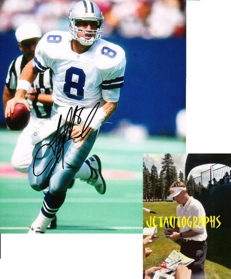 TROY AIKMAN SIGNED COWBOYS 8X10 PHOTO PIC PROOF SIGNING
