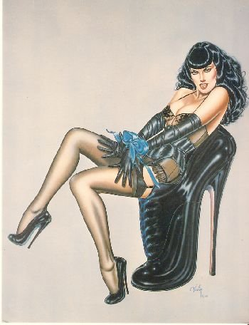 Olivia de Berardinis O Card Bettie Page Pin-up Notecard with Envelope