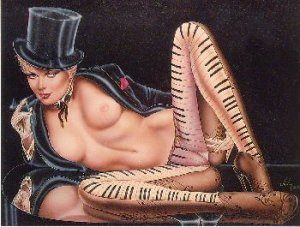 """Olivia de Berardinis O Card """"Tickle My Ivories"""" Pin-up Notecard with Envelope"""