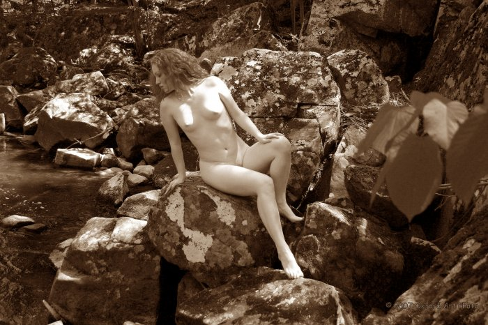 The beautiful natural Red Head #04 Posing on stream side boulders