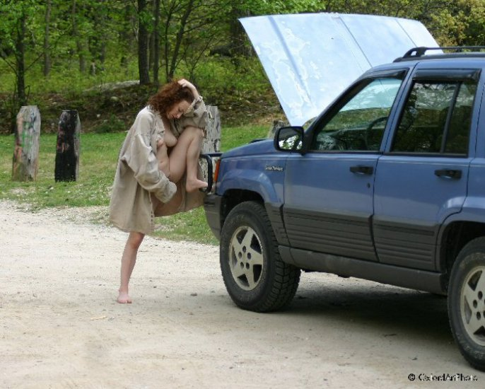 "Beautiful Hot Redhead and ""her broken down jeep"""