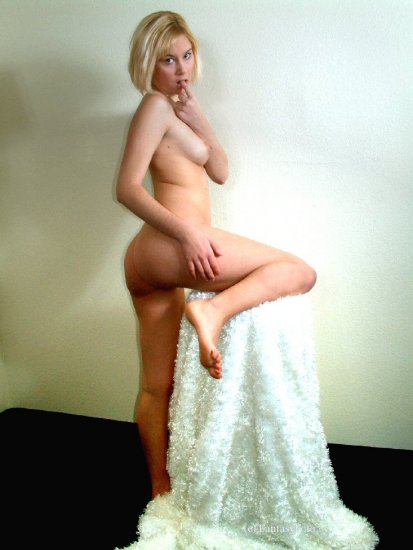 Hot naked blond nude posing... digital, Screensaver, print