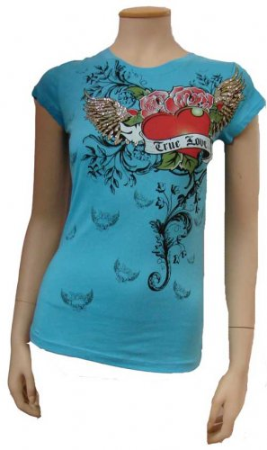 Blue True Love Heart Tattoo Design Tee Size Large