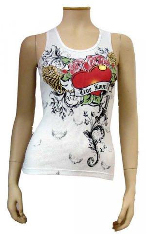 White True Love Heart Tattoo Design  Ribbed Tank Top Size Medium