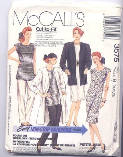 McCall's 3575 Misses Size B 8,10,12 Unlined Duster Coat Jacket Dress Tunic Pants Stretch Knits Uncut