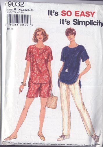Simplicity Misses Pants or Shorts and Top 1994 All Sizes Uncut