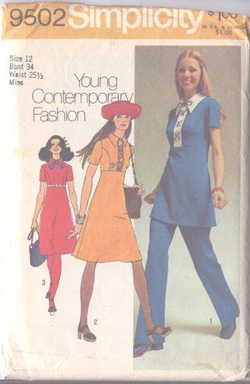 Simplicity 9502 Size 12 Misses Dress Jiffy Pattern 1971