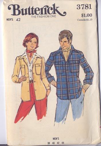 Butterick Mens 42 Shirt Jacket Pattern Uncut Womens Too