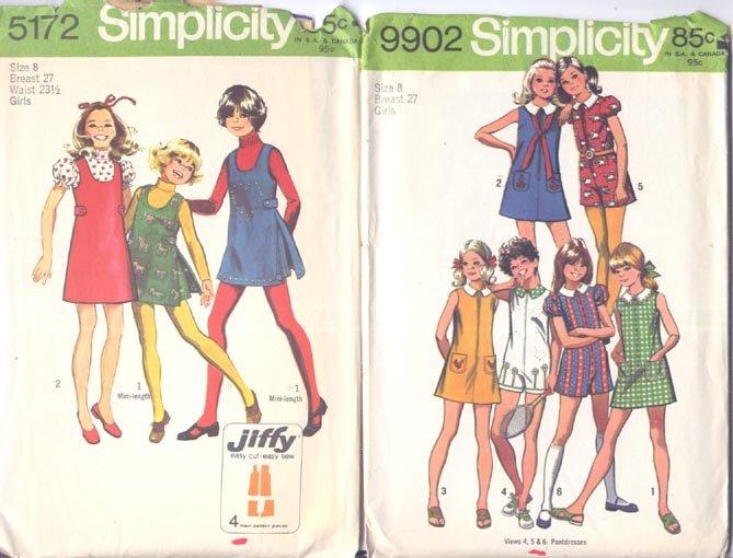 3 Simplicity Girls Size 8 Patterns Dress Pantdress Jumper Shorts