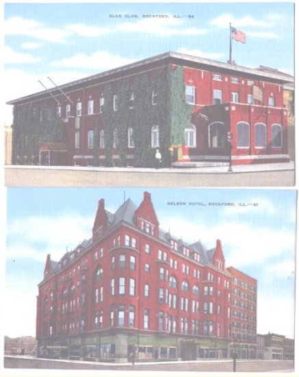 Linen Postcards Rockford IL Elks Club Nelson Hotel Unused
