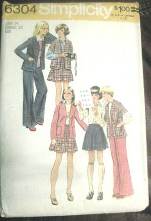 Simplicity Size 14 Girls Cardigan Skirt Pants 1974 Uncut Pattern