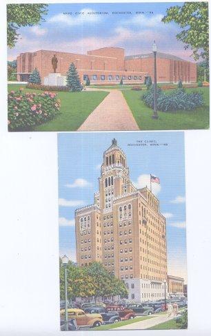 2 Postcards Rochester MN The Clinic & Auditorium Unused