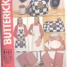 Pattern Kitchen Acessories Apron Napkins Placemats Pot Holders & Mitt Butterick 4147