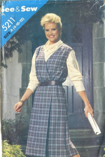 Butterick See & Sew PAttern 5211 Size A (8-10-12) Wrap Jumper