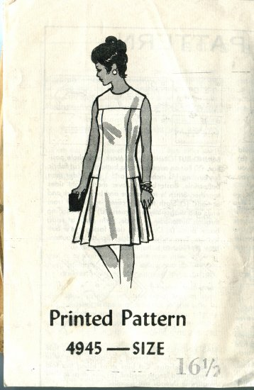 One Piece Dress Printed Pattern  Size 16 1/2 Dress