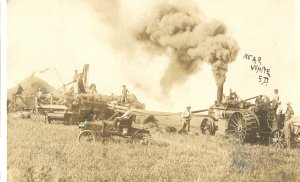 Steam Engine Threshing South Dakota White S.D. RPPC 1933
