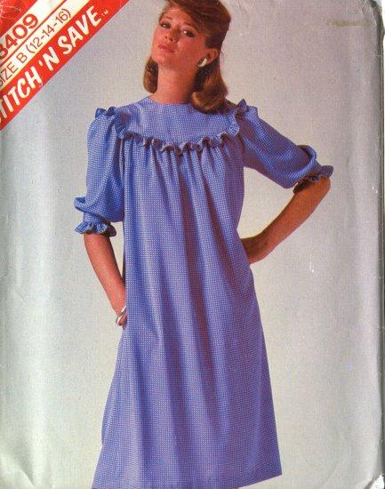 McCalls Pattern 8409  Size B (12-14-16)Dress 1983 Uncut