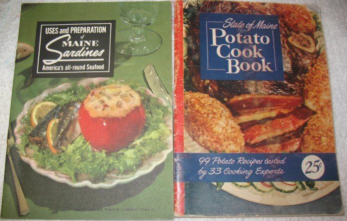 State of Maine Potato Cook Book & Uses Preparation of Maine Sardines
