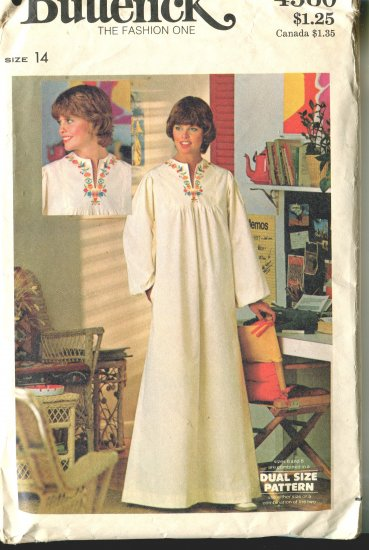Butterick Misses Pattern 4560 Size 14 Caftan and Transfers