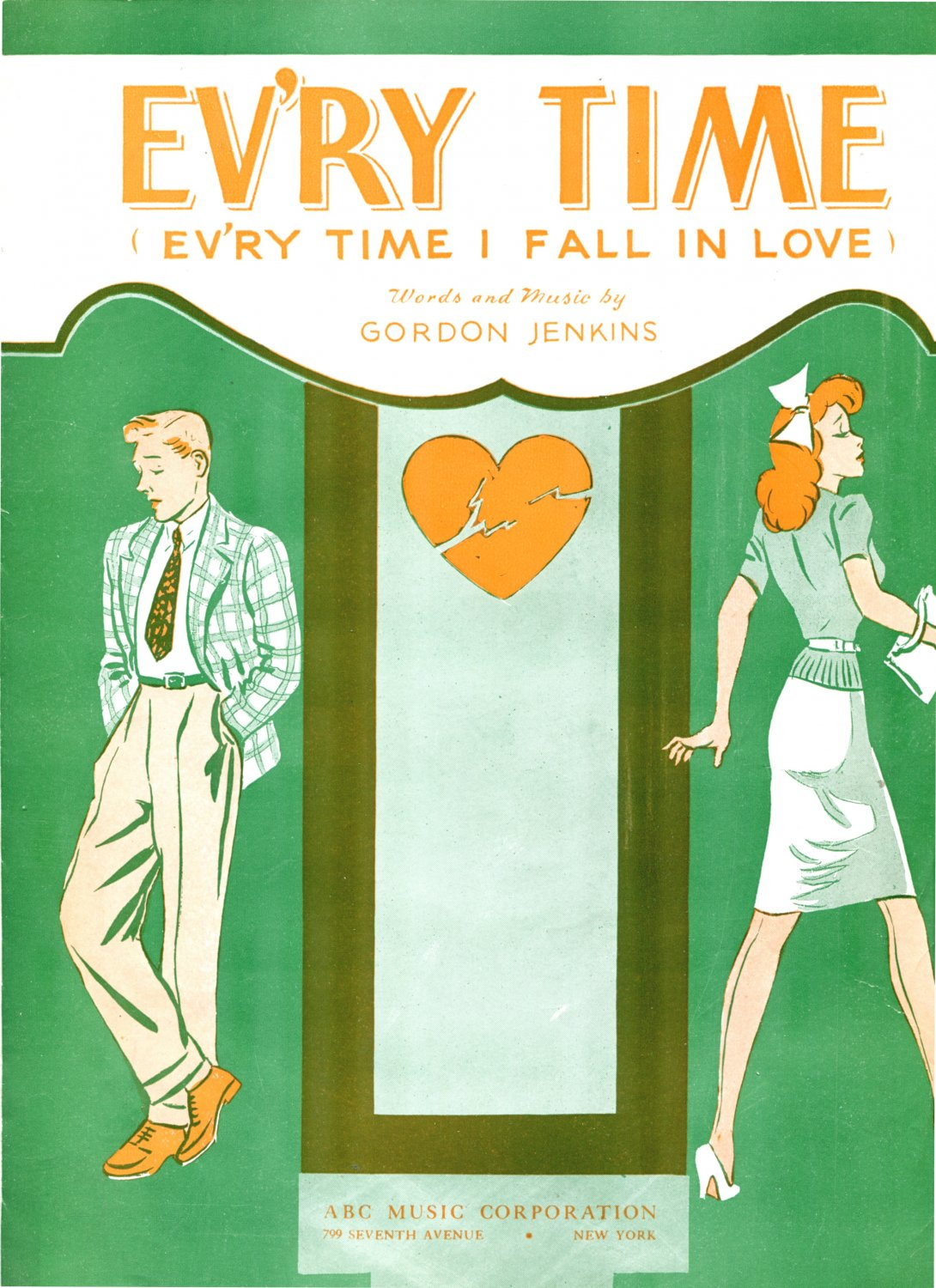 Ev'ry Time Ev'ry Time I Fall in Love 1944 Sheet Music Piano Vocal Uke