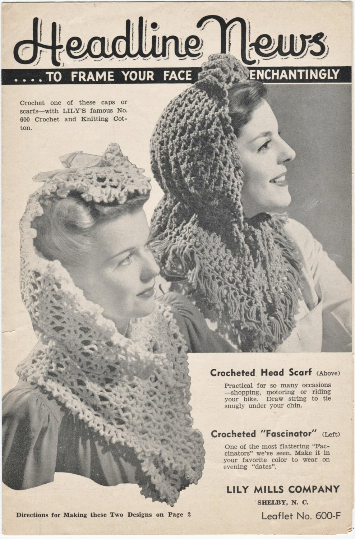 Crochet Head Scarves Vintage Leaflet Lily Mills