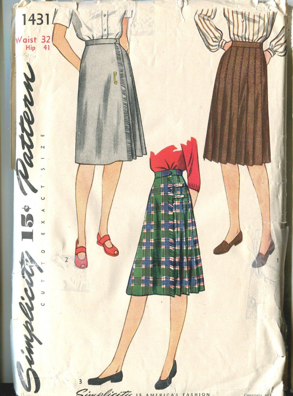 Simplicity 1431 Size Waist 32  Misses Skirt  Pattern 1953