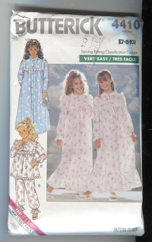 Butterick Girls Pattern 4410 Size 7-8-10 Nightgown Robe 1989