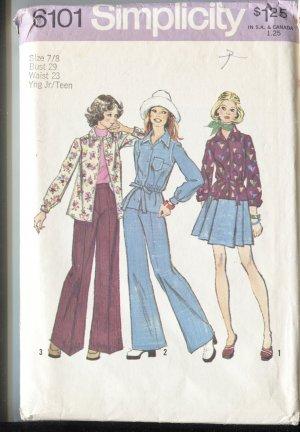 Simplicity 6101 Young Jr Teen Size 7/8 Pattern Shirt Pants and Short Skirt Uncut