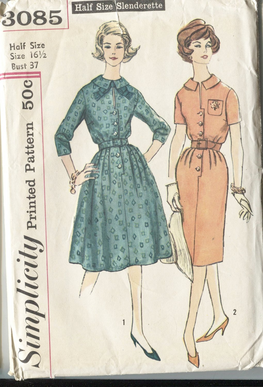 Dress Simplicity Size 16 1/2 Slenderette Pattern 3085 2 Styles of Dresses