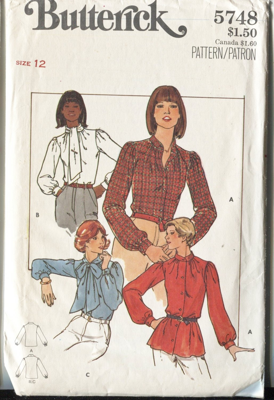 Butterick Misses Pattern 5748  Size 12 Blouses