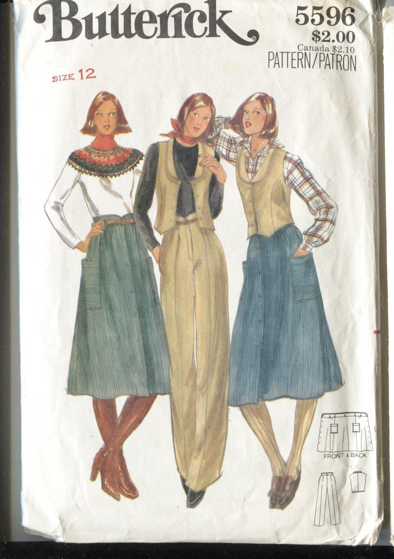 Butterick Misses Unused Pattern 5596 Size 12 Vest Skirt Pants