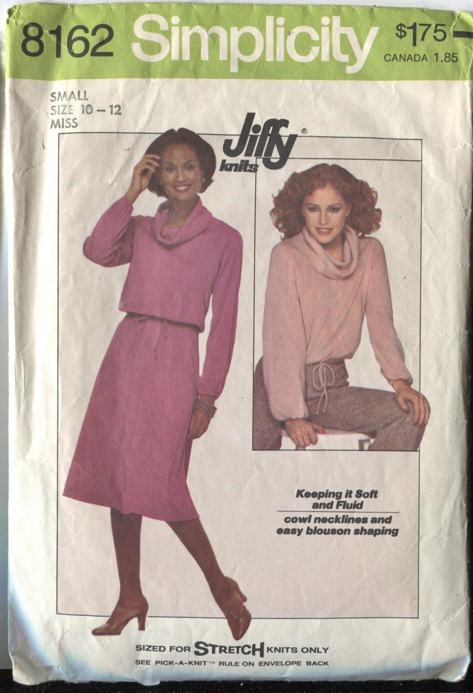 Simplicity 8162 Size 10-12 Two Piece Misses Jiffy Stretch Knit Pattern  Pattern 1977