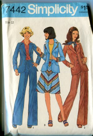 Simplicity 7422 Size 12 1976 Misses Unlined  Blazer Skirt and Pants