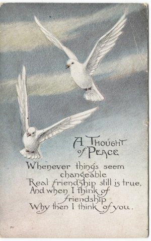 A Thought of Peace Postcard White Doves 1922