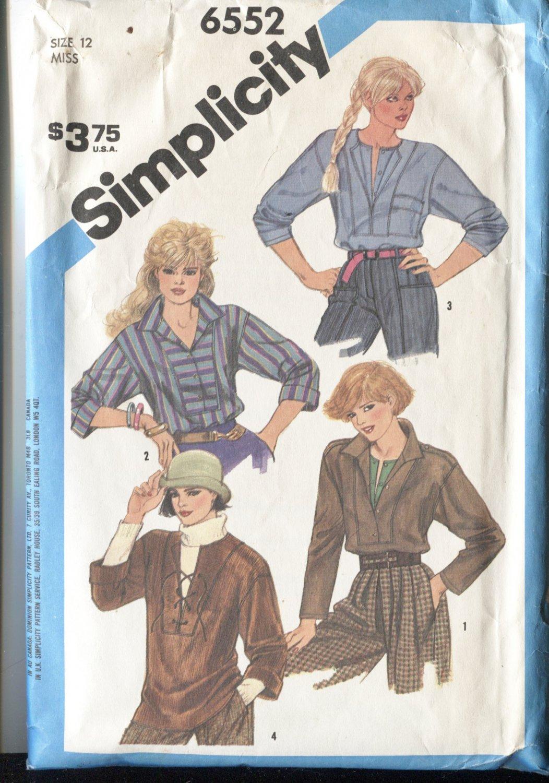 Simplicity 6552  Pattern Size 15 Misses Shirts Blouses 1984