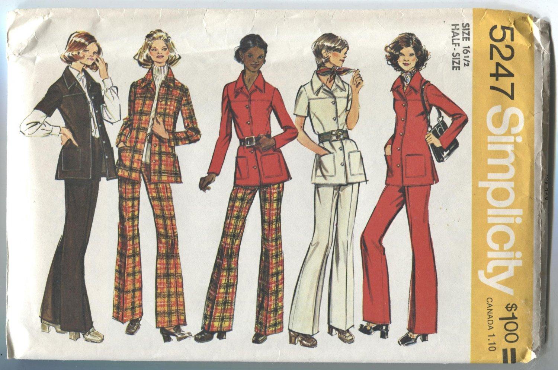Simplicity Pattern 5247 Unlined Shirt Jacket and Pants Size 16  1/2 Uncut