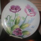 Lovely Decorative China Plate Purple Pink Flowers Hand Painted and Signed Japan