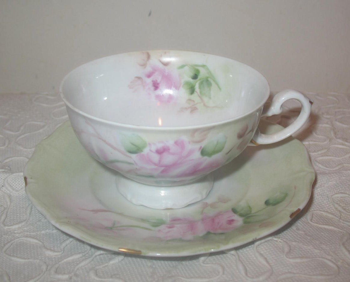 Hand Painted China Cup and Saucer Pink Roses Germany 1907