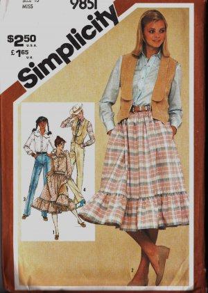 Simplicity 9851 Size 10 Misses Western Style Skirt Vest Blouse Square Dance 1980 1982