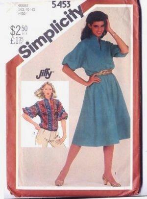 Simplicity 5453 Size 10-12 Misses Dress Jiffy Pattern 1982