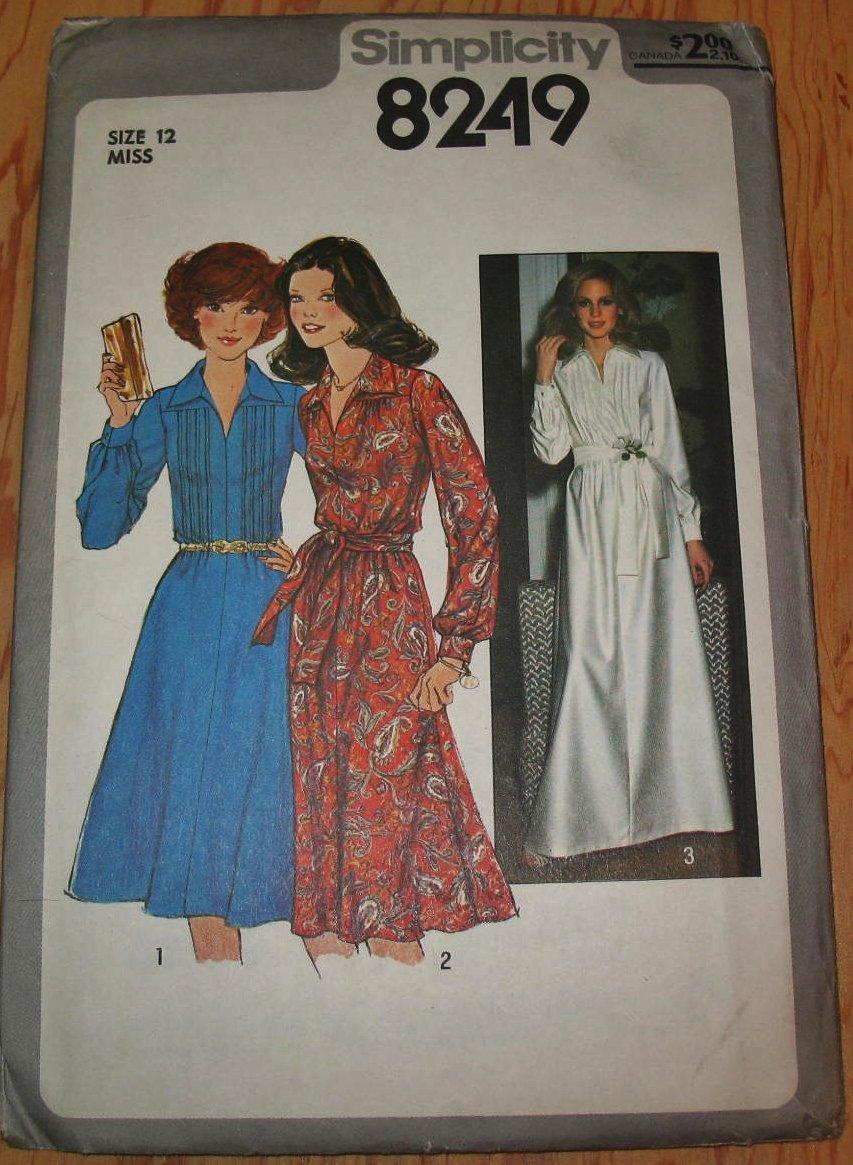 Simplicity 8249 Size 12 Uncut Pattern 1977 Long Sleeve Dress 2 Lengths