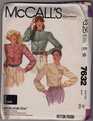 Misses Size 10 McCalls Krizia Pattern 7632 Unused Uncut 1981 Retro Long Sleeve Blouse