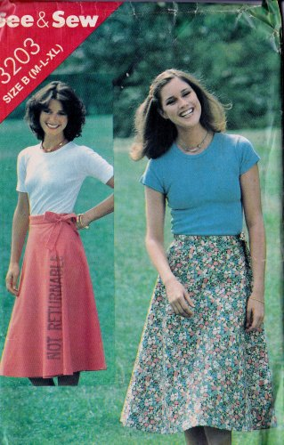 See & Sew Pattern 3203 Size B (M-L-XL) Wrap Skirt Uncut