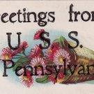 Vintage Postcard U.S.S.  Pennsylvania Glitter 1907